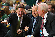 WACO, TX - DECEMBER 9: Baylor Athletic Director Ian McCaw (left) and Baylor President Ken Starr (right) visit with a fan as the Baylor Bears host the Texas A&M Aggies on December 9, 2014 at the Ferrell Center in Waco, Texas.  (Photo by Cooper Neill/Getty Images) *** Local Caption *** Ian McCaw; Ken Starr