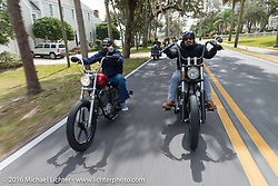 Nate Jacobs and Rene Chavez riding through Tomoka State Park during Daytona Bike Week 75th Anniversary event. FL, USA. Thursday March 3, 2016.  Photography ©2016 Michael Lichter.