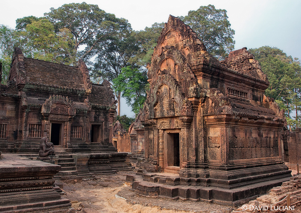 The richly decorated walls of the Banteay Srei temple were dedicated to the Hindu god Tribhuvanamaheshvara, also known as Shiva.