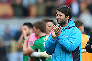 Lincoln City Manager Danny Cowley celebrates after the final whistle. The Emirates FA cup 5th round match, Burnley v Lincoln City at Turf Moor in Burnley, Lancs on Saturday 18th February 2017.<br /> pic by Chris Stading, Andrew Orchard Sports Photography.