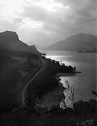 7191. Columbia Gorge and reflections on railroad tracks, near Mitchell Point. April 11, 1948.(Ruthton Park & Ruthton Point from Columbia Gorge Hotel)