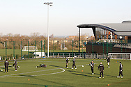 Picture by Andrew Tobin/Focus Images Ltd. 07710 761829.. 2/2/12. England players warm up during the England team training session held for the first time at Surrey Sports Park, Guildford, UK, before their 6-Nations game against Scotland