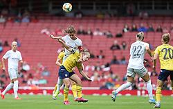 Melanie Leupolz of Bayern Munich beats Kim Little of Arsenal in the air - Mandatory by-line: Arron Gent/JMP - 28/07/2019 - FOOTBALL - Emirates Stadium - London, England - Arsenal Women v Bayern Munich Women - Emirates Cup