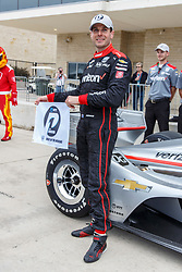March 23, 2019 - Austin, TX, U.S. - AUSTIN, TX - MARCH 23: Will Power (12) holds the pole award flag in front of his Verizon Team Penske, Chevrolet powered Dallara IR-18 after taking the pole during the IndyCar Classic held March 23, 2019 at the Circuit of the Americas in Austin, TX. (Photo by Allan Hamilton/Icon Sportswire) (Credit Image: © Allan Hamilton/Icon SMI via ZUMA Press)