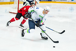 GRACNAR Luka (SLO) vs BOROSKA Edvinas (LTU) during OI pre-qualifications of Group G between Slovenia men's national ice hockey team and Lithuania men's national ice hockey team, on February 6, 2020 in Ice Arena Podmezakla, Jesenice, Slovenia. Photo by Peter Podobnik / Sportida