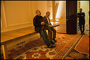 JAMES FRANCO; HANS OBRIST ULRICH;  Stanley Buchthal, Stanley Buchthal, James Franco talk and supper at Mansfield St. hosted by Maja Hoffmann. London. 23 November 2014