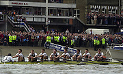 London, ENGLAND, 30.03.2002, University [Varsity] Boat Race, Oxford vs Cambridge over the Championship course - Putney to Mortlake.  Oxford row up the, Putney Hard on the Surrey Station in the opening stages of the 2002 Race. © Peter Spurrier/Intersport Images, email images@intersport-images.com. Tel +44 [0] 7973 819 551.