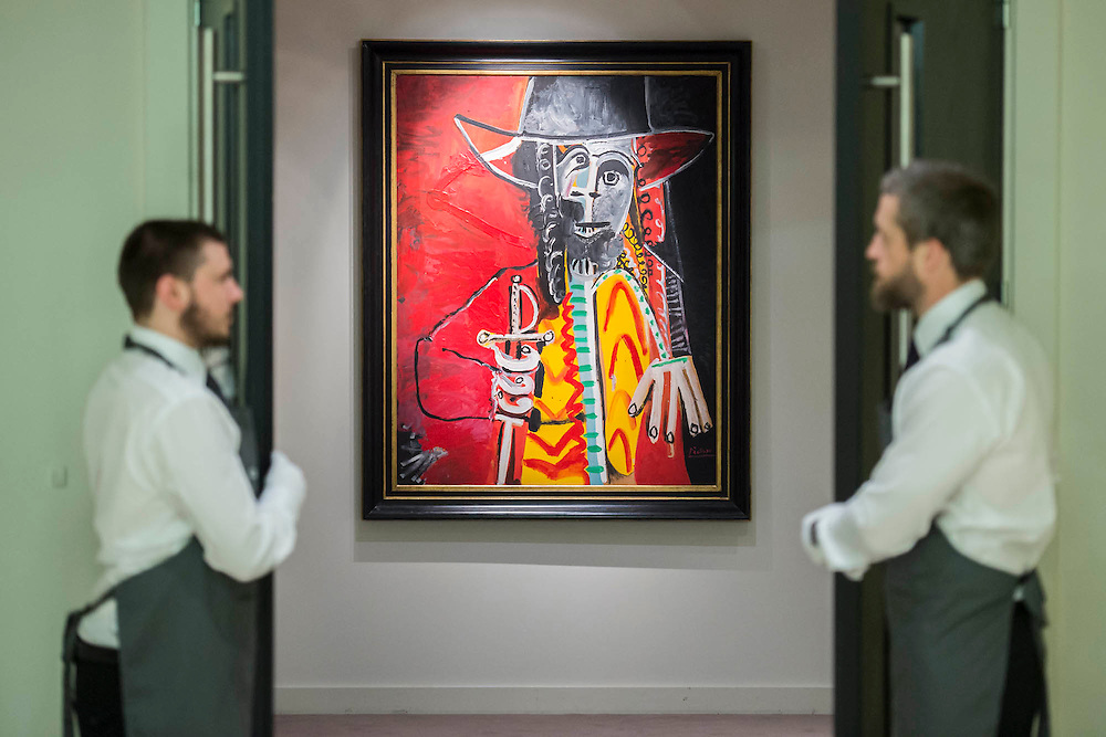 PABLO PICASSO (1881-1973)<br /> Homme à l'épée<br /> Painted on 25 July 1969<br /> Estimate on Request (in the region of $25 million) - Christie's showcases  the London Post-War and Contemporary Art Evening Sale in October, alongside an exceptional selection of works from the  New York sales in November of Impressionist, Modern, Post-War And  Contemporary Art. The works will be on view to the public from Saturday 10 October to Saturday 17 October at Christie's King Street. The highlight is  Amedeo Modigliani's, 'Nu couché (Reclining  Nude)', painted in 1917-18, which has an estimate in the region of $100 million.