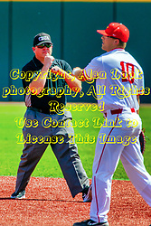 20 May 2019:  Tim Catton call an out at first as Jack Butler tosses the ball around. Missouri Valley Conference Baseball Tournament - Southern Illinois Salukis v Illinois State Redbirds at Duffy Bass Field in Normal IL<br /> <br /> #MVCSPORTS