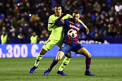 January 10, 2019 - Valencia, Spain - Jeison Murillo of FC Barcelona (L) in action against Levante's forward Borja Mayoral  during  spanish King Cup  match between Levante UD v FC Barcelona  at Ciutat de Valencia  Stadium on January  10, 2018. (Photo by Jose Miguel Fernandez/NurPhoto) (Credit Image: © Jose Miguel Fernandez/NurPhoto via ZUMA Press)