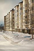 Apartment blocks in Severobaikal. Siberia, Russia