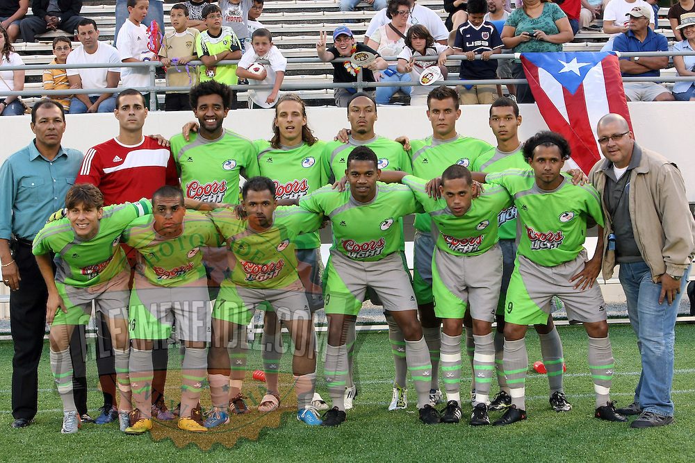 The team photo of the Puerto Rico United USL soccer team at the Florida Citrus Bowl on April 22, 2011 in Orlando, Florida.  (AP Photo/Alex Menendez)