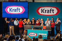 Kraft  staff rings the opening bell for NASDQ at Kraft headquarters in Glenview Illinois