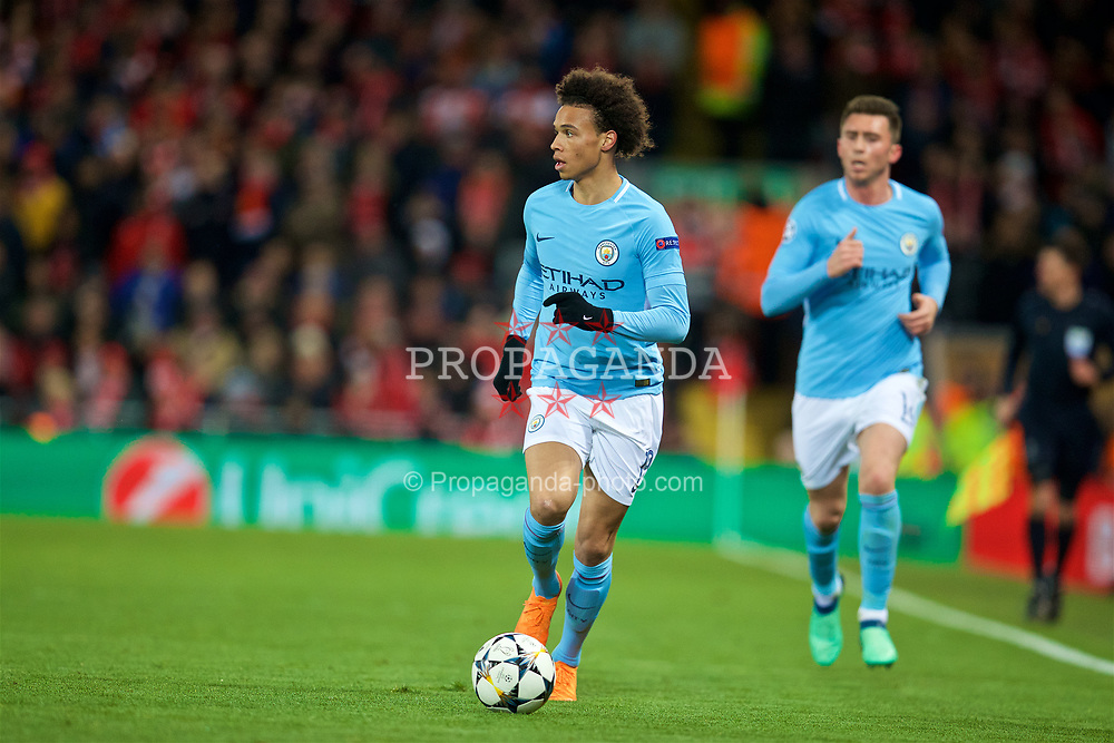 LIVERPOOL, ENGLAND - Wednesday, April 4, 2018: Manchester City's Leroy Sane during the UEFA Champions League Quarter-Final 1st Leg match between Liverpool FC and Manchester City FC at Anfield. (Pic by David Rawcliffe/Propaganda)