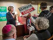 25 MAY 2019 - IOWA FALLS, IOWA: US Senator AMY KLOBUCHAR (D-MN), answers a question from climate activists during a campaign event in Iowa Falls. Sen. Klobuchar is touring Iowa this weekend to support her bid to be the Democratic nominee in 2020 for the US Presidency. Iowa traditionally hosts the the first election event of the presidential election cycle. The Iowa Caucuses will be on Feb. 3, 2020.         PHOTO BY JACK KURTZ