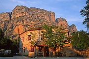 Stay in a pension under the impressive Tymfi Massif, in Vikos village, Zagoria, north Pindus Mountains (Pindos or Pindhos), Epirus/Epiros, Greece, Europe. The northeast wall of Vikos Gorge is Mount Tymfi (or Greek: , also transliterated Timfi, Tymphe, or Tymphi), near the 40 degree parallel. Tymfi forms a massif with its highest peak, Gamila, at 2497 meters (8192 feet), the sixth highest in Greece. Vikos Gorge in northern Greece is the world's deepest canyon in proportion to its width, and at one point measures 2950 feet (900 meters) deep and 3600 feet (1100 meters) wide from rim to rim. Its depth is an impressive 82% of its width at that cross-section (depth/width ratio=0.82). Gorges in many countries have higher depth/width ratio, but none are as deep. Zagori (Greek: ) is a region and a municipality in the Pindus mountains in Epirus, in northwestern Greece. Zagori contains 45 villages collectively known as Zagoria (Zagorochoria or Zagorohoria).