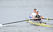 Hazewinkel, BELGIUM,  Men's Pair, bow [left]  Peter REED and Andy TRIGGS HODGE, at the start of their race in the Sunday Afternoon Semi Finals at the British Rowing Senior Trails, Bloso Rowing Centre. Sunday,  11/04/2010. [Mandatory Credit. Peter Spurrier/Intersport Images]