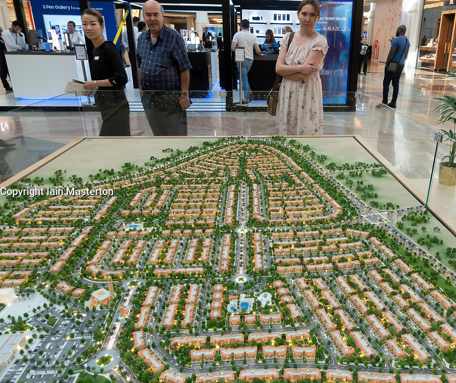 Model of proposed new property development with many villas called Serena in Dubai, UAE