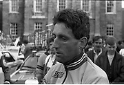Nissan International Cycle Race..1986..01.10.1986..10.01.1986..1st October 1986..The Nissan Classic began today from Trinity College,Dublin. The offical race starter was The Taoiseach,Dr Garrett FitzGerald TD. He was accompanied by the Minister for Sport,Mr Sean Barrett TD..Sean Kelly was returning to defend his title but his opposition included Greg LeMond, the 1983 world champion and the winner of the Tour de France of the previous July. Roche was out due to his injured leg. Adri van der Poel was back with 1980 Tour de France winner and 1985 world champion Joop Zoetemelk. Teun van Vliet was back too. The winner of the green jersey of the Tour de France that July, Eric Vanderaerden was there as well as Australians Phil Anderson and Alan Peiper as well the Scottish cyclist Robert Millar...Picture shows Ireland's own, Sean Kelly of the Guinness/Kas team, being interviewed by a race official prior to the start of the race.
