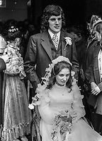 Wedding of Abercorn Restaurant bomb victim, Rosaleen McNern, pictured with her husband, Brendan Murrin, from Killybegs, Co Donegal, Rep of Ireland. They were married in Belfast 4th August 1972. 19720804028c<br /> <br /> Copyright Image from Victor Patterson, Belfast, UK<br /> <br /> t: +44 28 9066 1296 (from Rep of Ireland 048 9066 1296)<br /> m: +44 7802 353836<br /> <br /> victorpattersonbelfast@gmail.com<br /> <br /> www.victorpatterson.com OR <br /> www.images4media.com<br /> <br /> Please see my Terms and Conditions of Use at https://www.victorpatterson.com/page2<br /> It is IMPORTANT that you familiarise yourself with them.<br /> <br /> Images used on the Internet incur an additional cost and must be visibly watermarked i.e. © Victor Patterson within the body of the image and copyright metadata must not be deleted. Images used on the Internet have a size restriction of 4 kbs and are chargeable at rates available at victorpatterson.com.<br /> <br /> This image is only available for the use of the download recipient i.e. television station, newspaper, magazine, book publisher, etc, and must not be passed on to any third party. It is also downloaded on condition that each and every usage is notified within 7 days to victorpattersonbelfast@gmail.com.