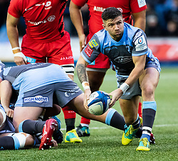 Lewis Jones of Cardiff Blues gets the ball away<br /> <br /> Photographer Simon King/Replay Images<br /> <br /> European Rugby Champions Cup Round 4 - Cardiff Blues v Saracens - Saturday 15th December 2018 - Cardiff Arms Park - Cardiff<br /> <br /> World Copyright © Replay Images . All rights reserved. info@replayimages.co.uk - http://replayimages.co.uk
