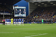 a One minutes applause is held in the memory of ex Everton player Alex Young. Premier league match, Everton v West Bromwich Albion at Goodison Park in Liverpool, Merseyside on Saturday 11th March 2017.<br /> pic by Chris Stading, Andrew Orchard sports photography.