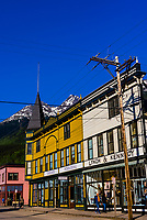 Broadway, the main street of Skagway, Alaska USA. The  area is the Klondike Gold Rush National Historical Park.