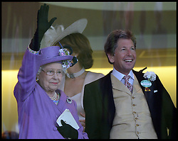 HM The Queen waves to the crowd as she celebrates winning the Gold Cup with her horse Estimate at Royal Ascot 2013 Ascot, United Kingdom,<br /> Thursday, 20th June 2013<br /> Picture by Andrew Parsons / i-Images