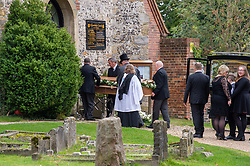 © Licensed to London News Pictures. 03/10/2019. High Wycombe, UK. A coffin is taken from a hearse as family arrive at St Lawrence's Church in High Wycombe for the funeral of Libby Squire. Libby Squire was a 21-year-old Hull University student and originally from High Wycombe she disappeared after a night out in Hull on February 1st, 2019. After extensive searches her body was found close to Spurn Point on March 20th, 2019. Photo credit: Peter Manning/LNP