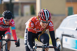 Isabelle Beckers chases back to the peloton after early issues - 2016 Omloop van het Hageland - Tielt-Winge, a 129km road race starting and finishing in Tielt-Winge, on February 28, 2016 in Vlaams-Brabant, Belgium.