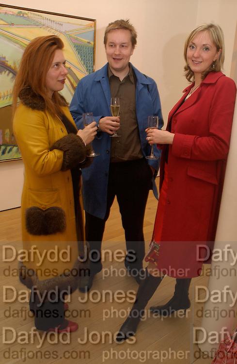 Isabella Sherlock, Ossian Ward and Jules Dixon. Wayne Thiebaud opening, Faggionato Fine Arts, Albermarle St. 10 April 2003. © Copyright Photograph by Dafydd Jones 66 Stockwell Park Rd. London SW9 0DA Tel 020 7733 0108 www.dafjones.com