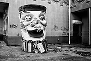 Clown head outside Paradise Dogs at Six Flags in East New Orleans - five years later after Hurricane Katrina.