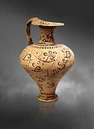 Minoan decorated jug with Marine style shell decoration, Zakros Palace  1500-1450 BC; Heraklion Archaeological  Museum, grey background. .<br /> <br /> If you prefer to buy from our ALAMY PHOTO LIBRARY  Collection visit : https://www.alamy.com/portfolio/paul-williams-funkystock/minoan-art-artefacts.html . Type -   Heraklion   - into the LOWER SEARCH WITHIN GALLERY box. Refine search by adding background colour, place, museum etc<br /> <br /> Visit our MINOAN ART PHOTO COLLECTIONS for more photos to download  as wall art prints https://funkystock.photoshelter.com/gallery-collection/Ancient-Minoans-Art-Artefacts-Antiquities-Historic-Places-Pictures-Images-of/C0000ricT2SU_M9w
