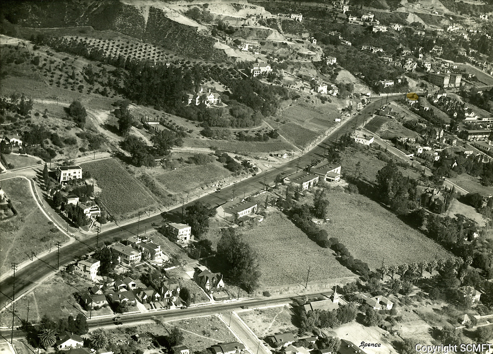 1932 Aerial of Sunset Blvd. just east of La Cienega Blvd. in West Hollywood