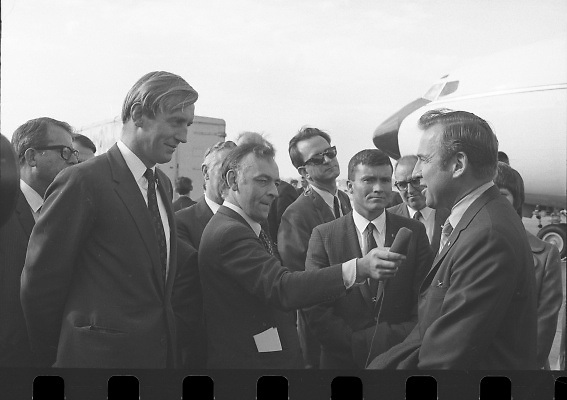 American Astronauts visit Dublin.<br /> 1970.<br /> 13.10.1970.<br /> 10.13.1970.<br /> 13th October 1970.<br /> The Astronauts of the Apollo 13 moon mission visited Ireland as part of a European tour. James Lovell, John Swigert and Fred Haise were on a planned landing on the lunar surface ,when two day after blast off on 11 April 1970 an explosion aboard the craft resulted in one of the most amazing missions in the Apollo series. The explosion placed the crew in severe danger and it was only through much skill and courage that the astronauts managed to make emergency repairs to enable them to return home. Up until they returned on 17th April the world held its breath as the astronauts fought their way back to Earth.<br /> <br /> Image of astronauts, Haise, Lovell and Swigert being interviewed at Dublin airport.