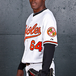 February 26, 2011; Sarasota, FL, USA; Baltimore Orioles relief pitcher Luis Lebron (64) poses during photo day at Ed Smith Stadium.  Mandatory Credit: Derick E. Hingle