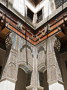 Decoration in a Dar, a traditional Moroccan house, now converted to hotel Dar Seffarine in Fes, Morocco