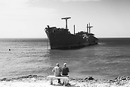 The Greek Ship is the nickname of a cargo steamship, Khoula F, that has been beached on the southwest coast of Kish Island, Iran, since 1966. beach of Kish island in the persian gulf Iran