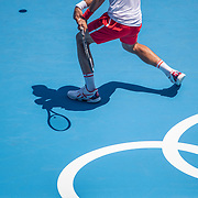 TOKYO, JAPAN - JULY 22: Novak Djokovic of Serbia practicing on Centre Court at Ariake Tennis Park in preparation for the Tokyo 2020 Olympic Games on July 22, 2021 in Tokyo, Japan. (Photo by Tim Clayton/Corbis via Getty Images)
