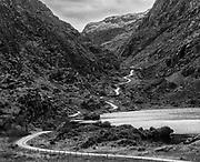 The Gap of Dunloe, Killarney, Ireland with its meandering road  into The Black Valley.<br /> Photo: Don MacMonagle -macmonagle.com