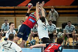 Philipp Ahouansou of Loewen during handball match between RK Trimo Trebnje and Rhein-Neckar Loewen in 6th Round of EHF Europe League 2020/21, on February , 2021 in Hala Tivoli, Ljubljana, Slovenia. Photo by Vid Ponikvar / Sportida