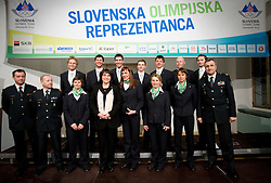 Minister of defence Ljubica Jelusic with athletes at official presentation of Slovenian Olympic team for Olympic games Vancouver 2010, on January 27, 2010, at Ljubljana's Castle, Slovenia. (Photo by Vid Ponikvar / Sportida)