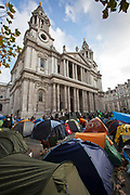 Tents of Occupy London (OSLX) outside St Pauls Catherdral, London.