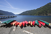 Kayaks and canoes for rent on the beach in front of the Lake Crescent Lodge in Olympic National Park. (Steve Ringman / The Seattle Times)