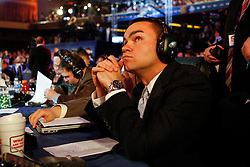 Philadelphia Eagles Video Assistant Kevin Dougherty mans the Eagles Draft table during the first round of the NFL Draft on April 26th 2012 at Radio City Music Hall in New York, New York. (AP Photo/Brian Garfinkel)