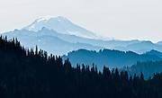Mount Adams is viewed from Naches Peak Loop Trail near Chinook Pass, Washington, USA.