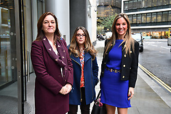 © Licensed to London News Pictures. 23/10/2017. London, UK. Tracy Gehlan, Suzette Burger and Nathalie Dauriac-Stoebe arrive at the High Court in London. Nathalie Dauriac-Stoebe, Tracy Gehlan and Suzette Burger all claim they were unfairly treated while working for billionaire Phones 4U businessman John Caudwell . Photo credit: Ben Cawthra/LNP