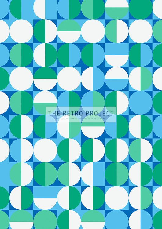 Retro Scandinavian Geometric Mid Century Sixties Circles Blue Green Pattern Illustration