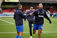 AFC Wimbledon defender Terell Thomas (6) warming up before the EFL Sky Bet League 1 match between AFC Wimbledon and Plymouth Argyle at the Cherry Red Records Stadium, Kingston, England on 26 December 2018.