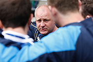 Photo by Andrew Tobin/Tobinators Ltd. Scotland coach Stephen Gemmell (C) in a team talk during the IRB London Rugby 7s tournament held at Twickenham Stadium, London on 12th May 2013. New Zealand won the tournament beating Australia in the final, and also won the overall 2012/13 series.
